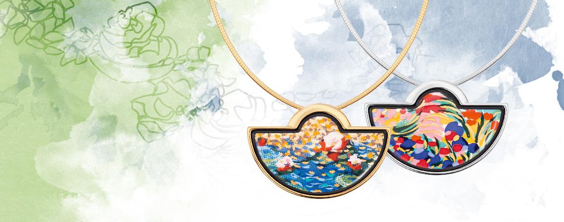 Hommag à Claude Monet Giverny collection design Halfmoon pendant enamel