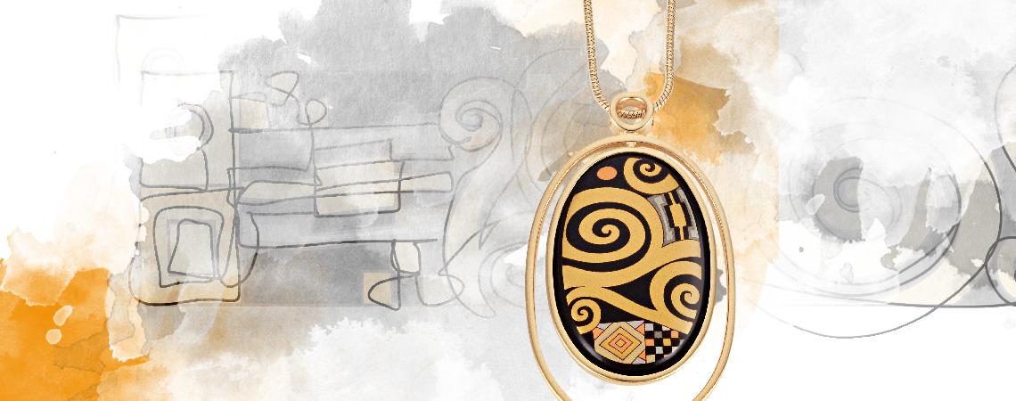 Hommage à Gustav Klimt collection design Adele Blochbauer Aphrodite bangleWaterdrop pendant