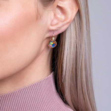 Ohrringe Cabochon-Hänger mit Brilliant