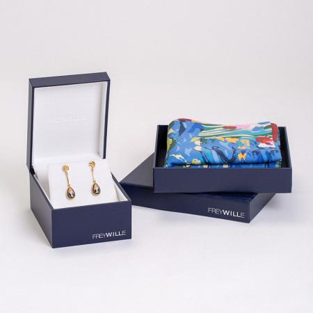 Geschenkset Orangerie - Almond Ohrringe & Seiden-Gavroche