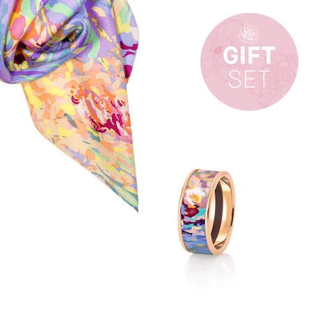 Geschenkset Orangerie Rose - Miss Ring & Seiden-Gavroche