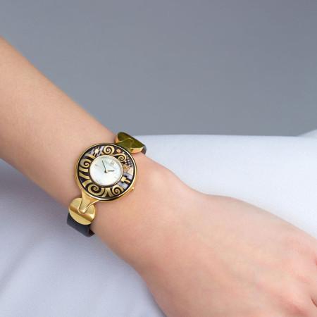 Schmuckuhr Helena / Alligator Uhrenband - schwarz