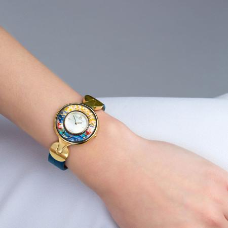 Schmuckuhr Helena / Alligator Uhrenband - blau
