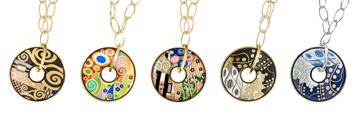 Hommage à Gustav Klimt Luna Piena pendants in five designs