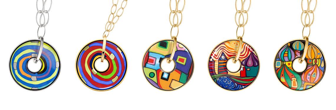 Hommage á Hundertwasser Luna Piena pendants in five different designs