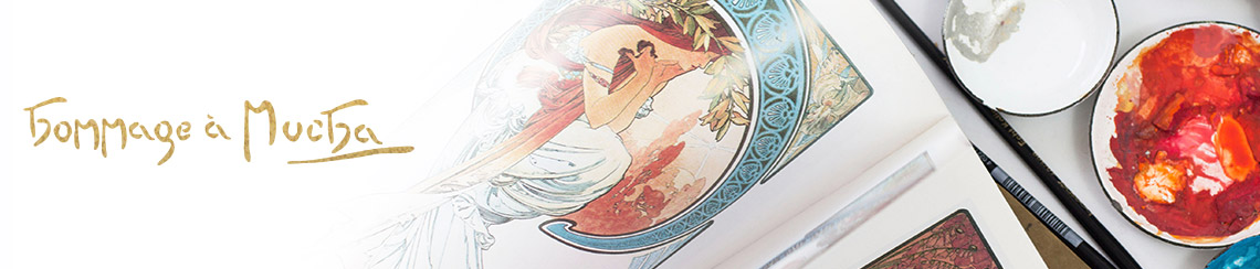 Hommage á Alphonse Mucha - Paintings of the artist and little pots of color